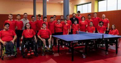 Adrià Sánchez en Concentración de promesas paralimpicas de Tenis de Mesa en San Sebastian de los Reyes.